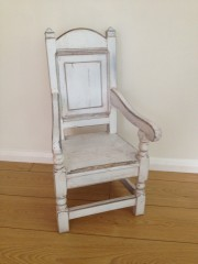 Vintage Style Childs Wainscot Chair in Shabby Chic Whitewashed Finish