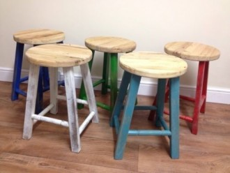 Reclaimed Elm Stools - 5 colours available