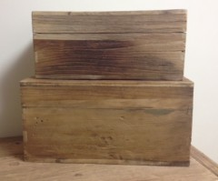 Rustic Wooden Storage Boxes - Pair